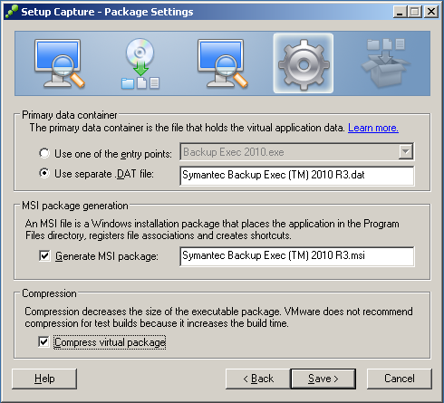 thinapp BackupExec 2010 R3 Package Settings