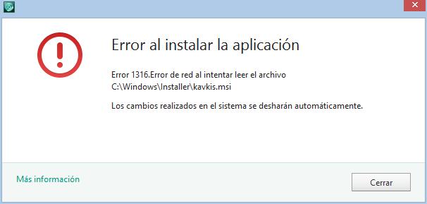 kaspersky error 1316